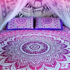 Purple Ombre Mandala Bohemian Tapestry Queen Size Hippie Wall Hanging Home Decor - Free Shipping Fabric: 100% Cotton Fabric, Screen Printed Design.. queen size 90 x 90 inch Makes a great wall hanging, tablecloth, beach cover up, Dorm, couch cover or window curtain other Home Décor purposes Material: 100% Cotton CARE: D