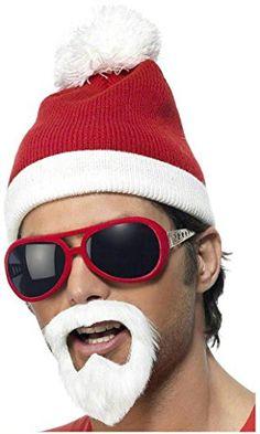 ca37815e409c0 Men s Women s Santa Fancy Dress Up Kit White Beard Glasses Hat   Hair  Christmas