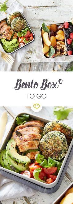 Bento Box: Gesunder Lunch to go – Tamara Lotz Bento Box: Gesunder Lunch to go Langweiler-Lunch war gestern! In deiner Bento Box kannst du von Salat bis Obst alles, was du magst, kombinieren, mitnehmen und mittags gesund schlemmen.Langweiler-Lunch w Healthy Lunch To Go, Easy Vegan Lunch, Healthy Kids, Bento Box Lunch, Lunch Snacks, Lunches, Bento Box Menu, Essen To Go, Food To Go