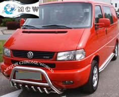 VOLKSWAGEN TRANSPORTER 4, VW T4, -2003, 60mm CHROME NUDGE BAR, BULL BAR, S.STEEL