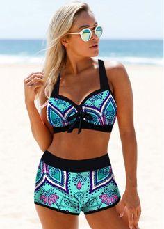 Bikini Swimsuits For Women High Waist Halter Neck Cyan Tribal Print Bikini Set Halter Bikini, Bikini Set, Halter Neck, Bikini Pics, Strap Bikini, Bikini Swimsuit, Bikini Babes, Underwire Swimwear, Modlily Swimwear