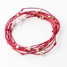 "Beaded Leather Wrap Bracelet Dark Fuschia and Silver ""Cameron"" Sundance Jewelry Beaded Leather Wraps, Leather Cord, Bracelet Knots, Bracelets, Sundance Jewelry, Cloth Bags, Leather Jewelry, Anklet, Silver"