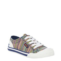 quality design fa897 b41bb Youre up for anything in these multi-colored lace-up sneakers. Features  bright pinstripe print rubber sole and branded heel.