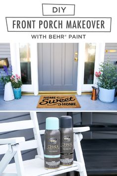 Looking for a quick and easy DIY home makeover project that still makes a big design impact on your home? Start with BEHR® Chalk Decorative Aerosol Paint in Classic Noir, Surf, and Tin White. Andrea, of Salty Canary, shows you how. Click to learn more about this front porch refresh.