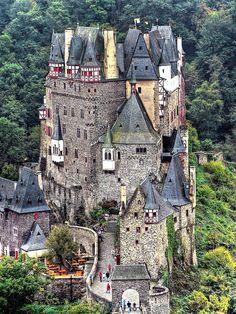 Eifel Germany castles   Castell (château fort) Eltz --- Eifel, near Münstermaifeld Germany ...