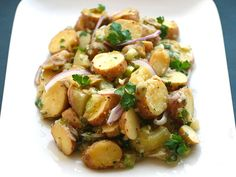 Fingerling potatoes in a sweet-tart vinaigrette made extra-creamy with the addition of potato cooking liquid and mashed yukon golds. Creamy, delicious, and 100% vegan.