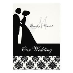 Black and white damask print with a black band, a silhouette bride and groom, and areas you can personalize with your names, monogram initial, wedding ceremony and reception information on a customized wedding invitation that's classy and traditional all in one! #wedding #invitations #invites #damask