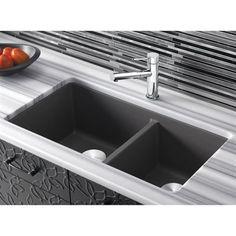 Blanco 441479 Precis Silgranit Granite Composite Undermount Double Bowl Kitchen Sink with Split - Cinder Granite Composite Sinks, Composite Kitchen Sinks, Double Bowl Kitchen Sink, New Kitchen, Kitchen Ideas, Kitchen Reno, Blanco Sinks, Kitchens