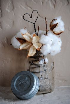 Cotton Boll Arrangement Made with Rustic by kansascottongirls