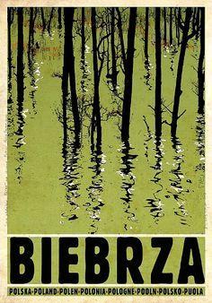 Polish Tourist Poster. Biebrza, Biebrzanski Park Narodowy. designer: Ryszard Kaja
