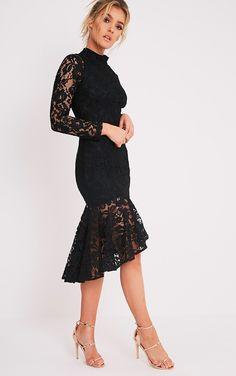 Ellina Black Lace Fishtail Midi Dress Image 5