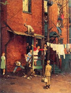 Norman Rockwell - Homecoming, 1945 -  This is probably one of Rockwell's finest works. The entire family has red hair and even his girlfriend on the corner of the house. It shows all the excitement of someone coming home from War.