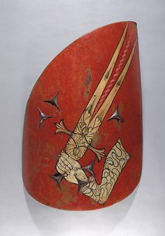 Hungarian-style Shield, ca. 1500–1550 Eastern European Wood, leather, gesso, polychromy. Wing-shaped shields, with the distinctive upward-sweeping back edge, were the characteristic light-cavalry shields of Hungary. During the sixteenth century, the style was adopted across much of eastern Europe by both Christian and Islamic horsemen. The shield's elongated upper edge was designed to defend the back of the head and neck against cuts from the saber, the preferred cavalry weapon in that…