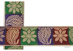 50 mm Indian Saree Borders - Jacquard lace # 002799  Droplet-shaped vegetable shape and floral design For Lehanga , Salwar Kameez , Saree Border Design.   This design is made by use of multi color i.e gold, green, maroon, violet. Such saree border designs are trending in antique dress creation.  Visit www.lacxo.com more then 250 variety of laces, tapes, trims, ribbons, webbing and such fashion accessories. You can even mail us at info@lacxo.com for your custom saree border requirement.