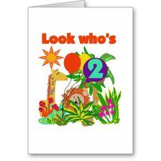 Safari 2nd Birthday T-shirts and Gifts Greeting Cards