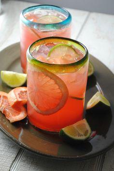 Grapefruit-Cranberry Tequila Cooler, a tart, but refreshing tequila cooler made with fresh grapefruit juice, cranberry juice, tequila, Campari and seltzer.
