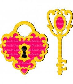 Cadeado de Coração e Chave, Heart Lock and Key, Silhouette, Regular Cut, Corte Regular
