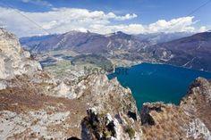 View from Cima Rocca roped climbing trail on Lake Garda Riva and Torbole Trentino Italy Europe