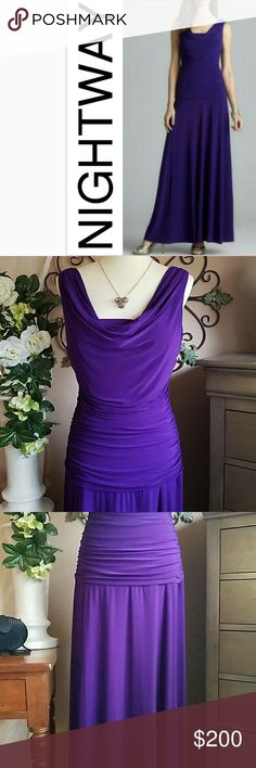 """💜 NightWay Deep Purple Evening Gown 💜 Flawless Purple Evening Gown 💜 Gorgeous ruching and draped neckline bodice, V neckline back.  💕Slip on gown draping beautifully in  for a feminine silhouette💕 🌟95% Polyester 5% Spandex🌟 🌟Length is 60"""" 💕Step out in this stunning gown for a fabulous occasion💕 Nightway Dresses"""