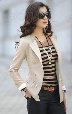New Lady Korean Fashion Lapel Double-Breasted Slim Blazer Jacket Coat Women - 2019 Mode Outfits, Casual Outfits, Fashion Outfits, Womens Fashion, Fashion Trends, Dress Casual, Cheap Fashion, Denim Outfits, Basic Outfits