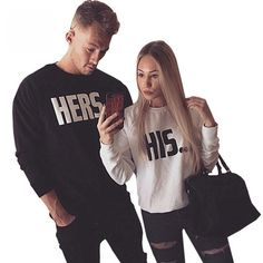 His and Hers Couple Sweatshirt Price: & FREE Worldwide Shipping Matching Couple Outfits, Matching Couples, Matching Clothes, Colourful Outfits, Cool Outfits, Matching Hoodies, Sweatshirts Online, Couple Clothes, Graphic Sweatshirt