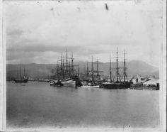 Ships docked in Honolulu Harbor.