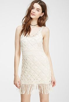 Beige FOREVER21  casual dress  for woman Dancing under the desert sun sounds pretty good - add this sleeveless shift dress to the mix and it gets a whole lot better. It's made for frolicking under the sun with its allover macrame construction and fringed hem, and is the perfect sheer topper to your vintage tank and cutoffs. Slip not included.Lightweight knit100% acrylic34%22 full length, 34%22 chest, 34%22 waistMeasured from SmallHand wash coldImported #vestidoinformal #camisole #túnica…