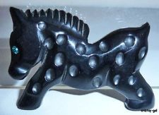 BAKELITE PIN BROOCH Realistic Figural Full BODY BLACK PONY HORSE Martha Sleeper