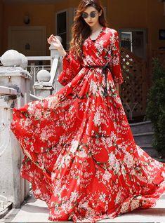 New 2017 autumn fashion women floor length chiffon long dress floral cherry floral print bohemian dresses red Chiffon Maxi Dress, Floral Maxi Dress, Boho Dress, Maxi Dresses, Bohemian Dresses, Long Dresses, Formal Dresses, Dress Outfits, Fashion Dresses