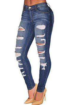Women's Jeans - Sidefeel Women Casual Destroyed Ripped Distressed Skinny Denim Jeans -- You can get more details by clicking on the image.