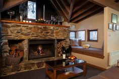 Stone fireplace and reading nook. Sharpys at Dinner Plain, Victoria. Reading Nook, Cabins, Victoria, Dinner, Stone, House, Home Decor, Dining, Rock