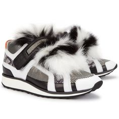 Womens Low-Top Trainers Pierre Hardy Monochrome Fur-panelled Leather... (£735) ❤ liked on Polyvore featuring shoes, sneakers, velcro shoes, leather shoes, leather lace up shoes, leather low top sneakers and leather trainers