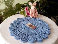 Sousplat feito à mão  Barbante de qualidade  O preço é por unidade  36 cm , cor azul bebê, usei barbante 6