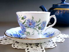 Royal Vale Tea Cup and Saucer, English Bone China Teacup Set, Blue Cornflower, Floral Tea Set Made in England, Tea Party Gift For Her, 1950s