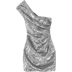Saint Laurent One-shoulder sequined wool-crepe mini dress ($8,990) ❤ liked on Polyvore featuring dresses, saint laurent, silver, one sleeve cocktail dress, short sequin dress, sequin one shoulder cocktail dress, one shoulder sequin dress and 1980s dresses