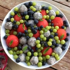 Life is like a Fruit Salad... Full of color, and lots of surprises throughout. Watermelon Dragon Fruit Green Grapes Fresh Organic Blueberries Mint Make this recipe your own, add your favorite berries and melons to this fruit salad.