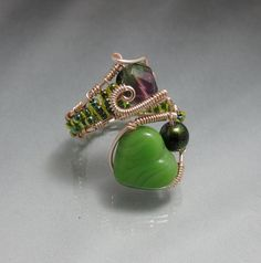 Wire Wrap Ring with Green Valentine Heart adjustable ♥ by studiodct