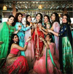 Bridesmaids in a cocktail party | wedding ideas | wedfine.com | find banquet halls in Mumbai |