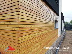 Realizacje projektów   HomeKONCEPT House Plans, Garage Doors, Wood, Outdoor Decor, Home Decor, Blueprints For Homes, Madeira, House Plans Design, Woodwind Instrument