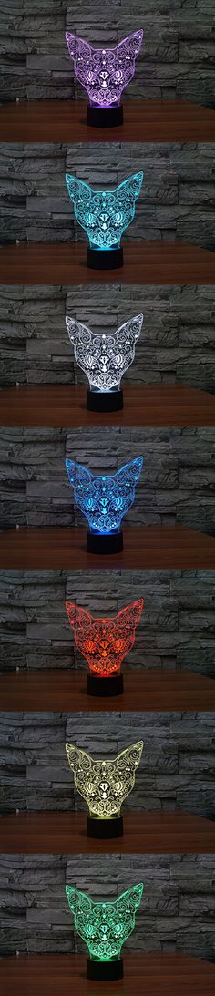 3D Glow LED Night Light 7 Changing Colors Optical Illusion Lamp Touch Sensor Perfect for Home Party Festival Decor Great Gift Idea (Cat)
