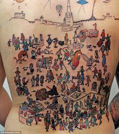 If you're looking for Waldo, we'll give you a hint; he's hiding in body art as Where's Waldo tattoos. Tatoo Art, I Tattoo, Cool Tattoos, Tatoos, Awesome Tattoos, Tattoo Fails, Tattoo Time, Badass Tattoos, Funny Tattoos