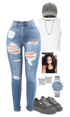 """Untitled #2135"" by basnightshine1015 ❤ liked on Polyvore featuring Glamorous, Puma, BERRICLE and GUESS"