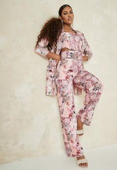 Pink Two Piece, Women Church Suits, Cut Out Swimsuits, Wide Leg Trousers, Missguided, Autumn Fashion, High Waist, Belt, My Style