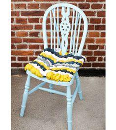 Almofada para cadeira com restos de tecido passo a passo