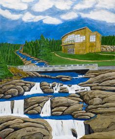The Manuels River Hibernia Interpretation Centre sits atop the Manuels bridge/river and amazing geology and natural history of our protected trilobite fossil site near Conception Bay South. Pike Art, Newfoundland And Labrador, Take Me Home, Natural History, Geology, Art Images, Fossil, Folk Art, Exterior