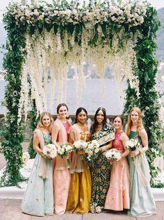 Nov 2019 - When Italian Views Meet Indian Traditions, the Blending of Cultures Create Destination Wedding Magic! Indian Bridesmaid Dresses, Beautiful Bridesmaid Dresses, Brides And Bridesmaids, Indian Wedding Bridesmaids, Wedding Mandap, Wedding Receptions, Costume, Wedding Inspiration, Wedding Ideas