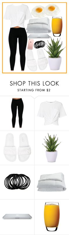 """""""Lazy Mornings"""" by yeslove ❤ liked on Polyvore featuring T By Alexander Wang, Puma, Lux-Art Silks, Frette and Luigi Bormioli"""