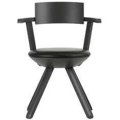 Rival chair, high, black/leather, by Artek.