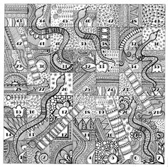 """""""Snakes and Ladder"""" for Zentangle Series  ( Doodle, Illustration, Line drawings, Mandala, patterns )"""