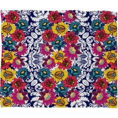 Juliana Curi Klein Blue Flower Fleece Throw Blanket | DENY Designs Home Accessories